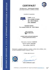 certifikát výroba ocelových koštrukcií