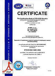 Certifikát enviroment ISO14001 English