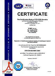 Certifikát kvality ISO9001 pre rok 2014 English